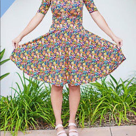 LuLaRoe Dresses & Skirts - LuLaRoe FLARE Floral Spring Dress XL (Nicole) NWT